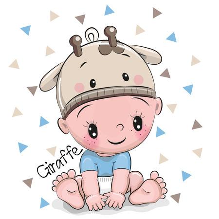 Neonato sveglio del fumetto in un cappello della giraffa su un fondo bianco