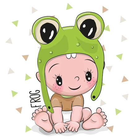 Cute Cartoon Baby boy in a frog hat on a white background