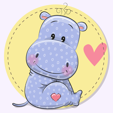Greeting Card with cute cartoon Hippos on a yellow background