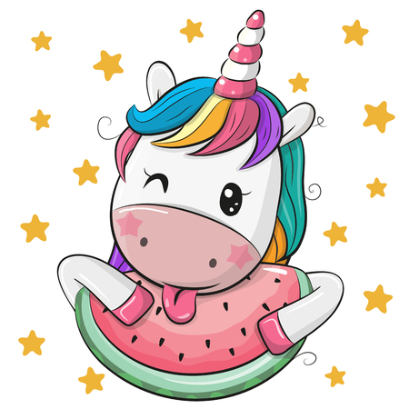 Unicornio de dibujos animados lindo con sandía sobre fondo de estrellas Ilustración de vector