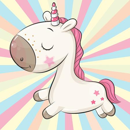 Unicornio de dibujos animados sobre un fondo de color