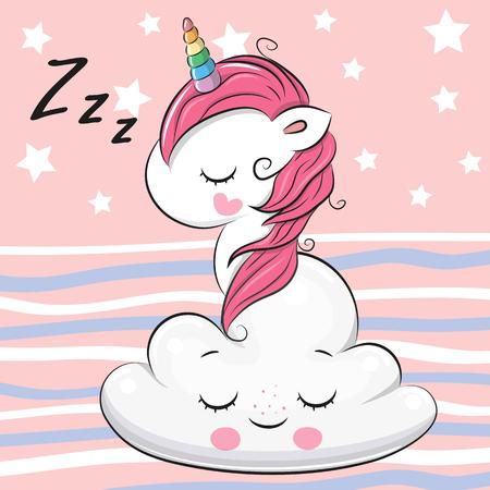 Cute Cartoon Unicorn is sleeping a on the Cloud