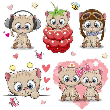 Set of Cute Cartoon Kitten on a white background
