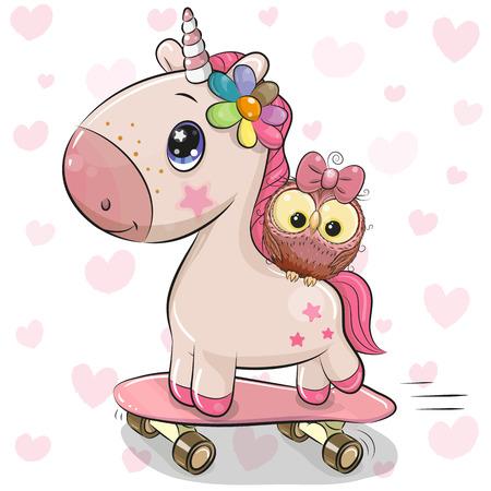 Unicornio de dibujos animados lindo con búho en una patineta