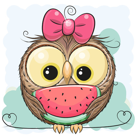 Cute Cartoon Owl girl with watermelon on a green background Stock Illustratie