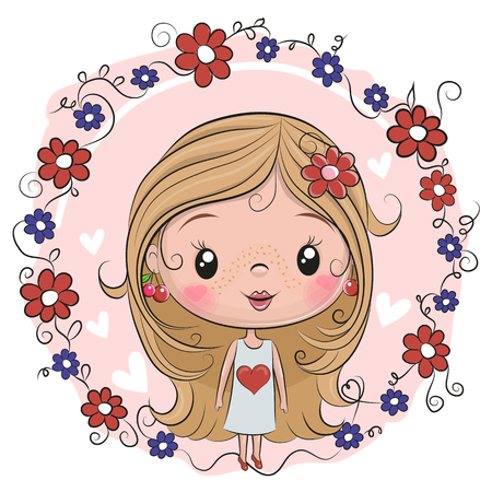 Cute Cartoon Girl on a flowers background