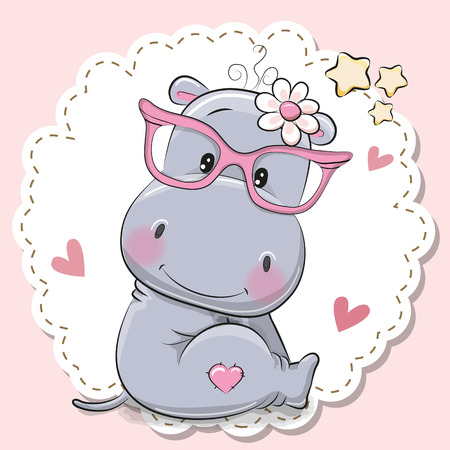 Cute cartoon Hippo girl in pink eyeglasses Stock Illustratie