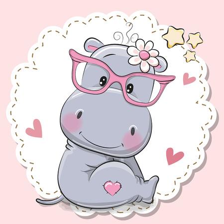 Fille hippopotame de dessin animé mignon à lunettes roses Vecteurs