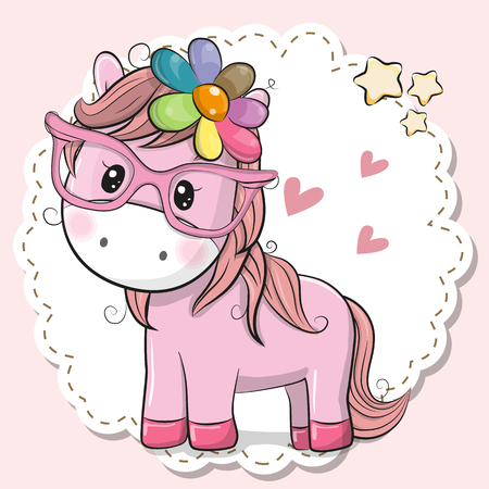 Cute cartoon Horse girl in pink eyeglasses Illustration