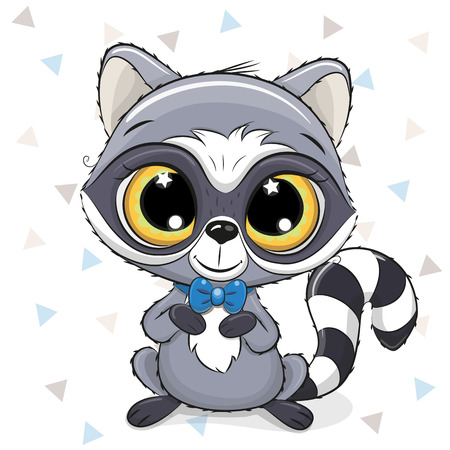 Cute Cartoon Raccoon with a blue bow tie on a white background Ilustrace