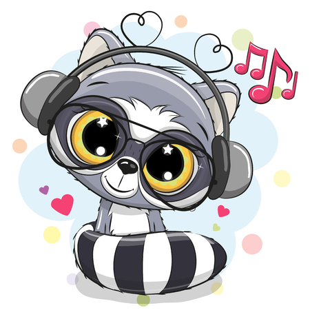 Cute Cartoon Raccoon with headphones on a white background