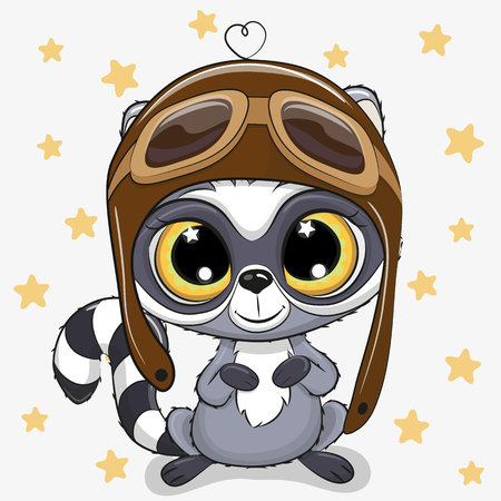 Cute cartoon Raccoon in a pilot hat on a stars background Illustration