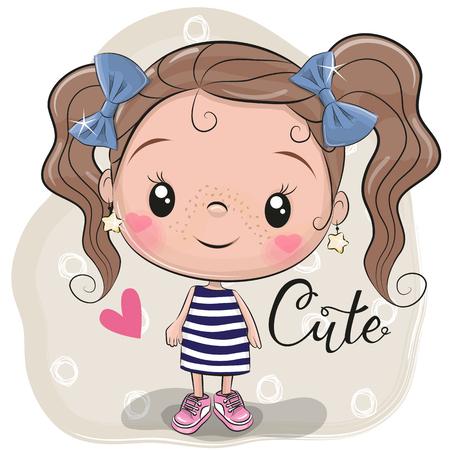 Linda chica de dibujos animados sobre un fondo beige