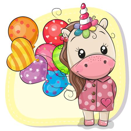 Biglietto di auguri Unicorno simpatico cartone animato con palloncini Vettoriali