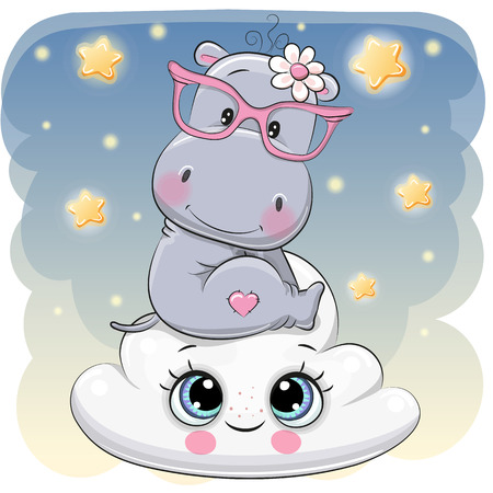 Cute Cartoon Hippo is sitting a on the Cloud