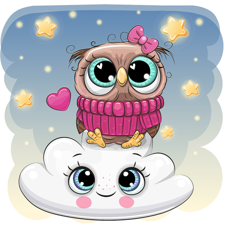 Cute Cartoon Owl is sitting a on the Cloud