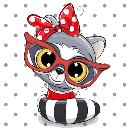 Cute Cartoon Raccoon with red glasses on a dots background