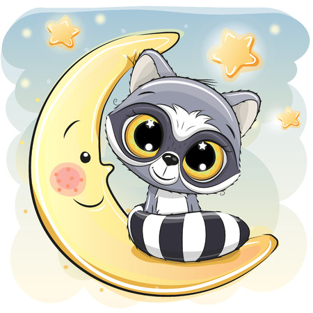 Cute Cartoon Raccoon is sitting on the moon