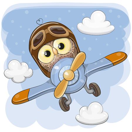 Búho de dibujos animados lindo está volando en un avión