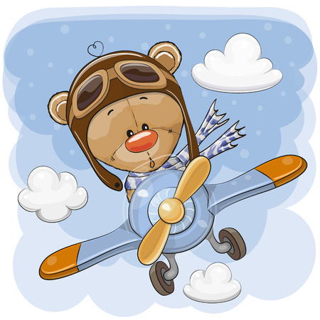 Cute Cartoon Teddy Bear is flying on a plane Иллюстрация