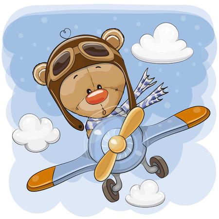 Cute Cartoon Teddy Bear is flying on a plane Illustration
