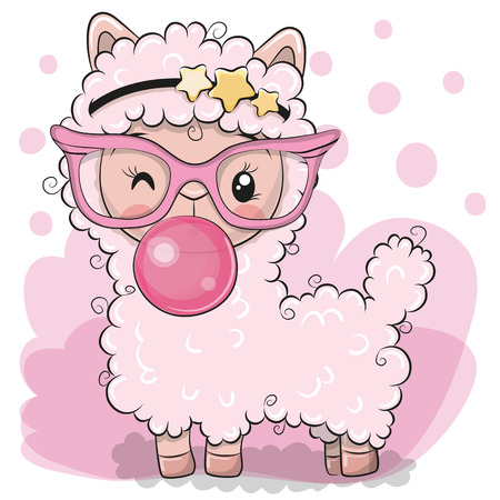 Niedliches Cartoon-Rosa-Alpaka mit Kaugummi