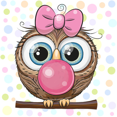 Cute Cartoon Owl in a pink hat with bubble gum Ilustração