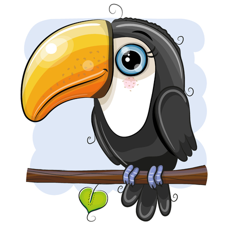 Cute Cartoon Toucan is sitting on a branch