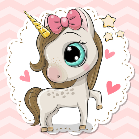 Cute Cartoon Unicorn with a bow on a pink background 矢量图像