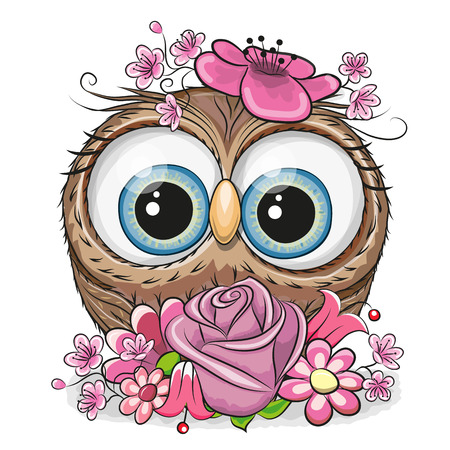 Cute Cartoon Owl with flowers on a white background