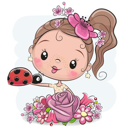 Cute Cartoon Girl avec des fleurs et coccinelle un fond blanc Vecteurs