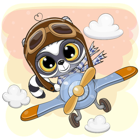 Cute Cartoon Raccoon is flying on a plane