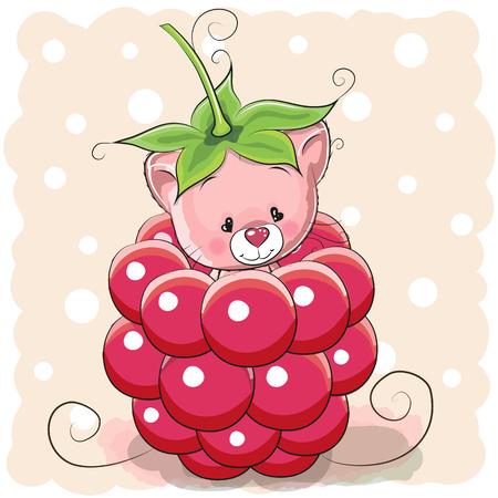 Cute Cartoon Kitten is sitting inside a raspberry Illustration