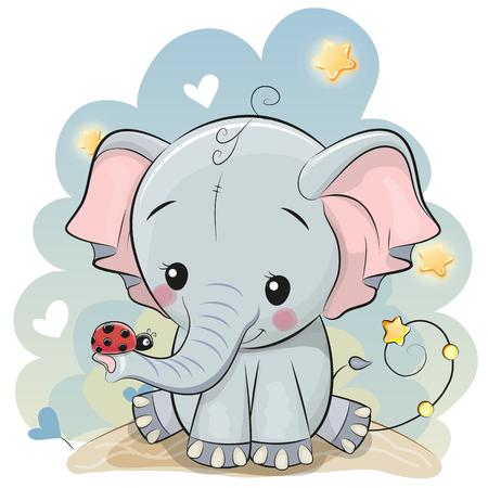Carte de voeux éléphant de dessin animé mignon avec coccinelle