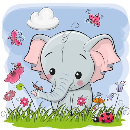 Elefante sveglio del fumetto su un prato con fiori e farfalle