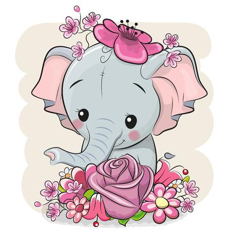 Elefante de dibujos animados lindo con flores sobre un fondo blanco Ilustración de vector
