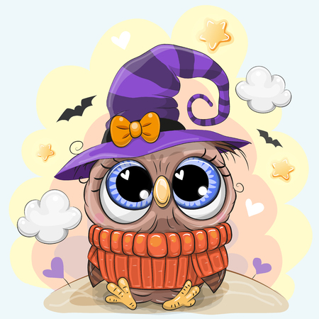 Cute Cartoon black Owl in a halloween hat