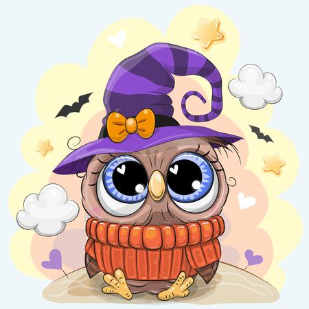 Cute Cartoon black Owl in a halloween hat
