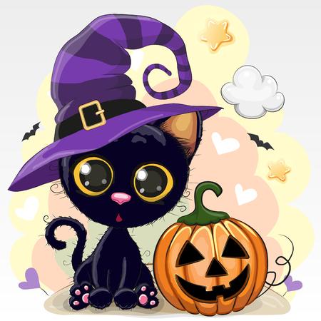 Halloween-Illustration der niedlichen Karikaturkatze mit Kürbis