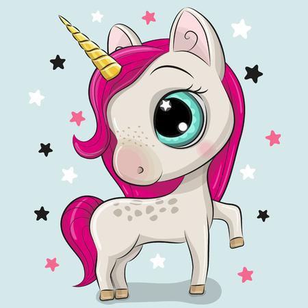 Cute Cartoon Unicorn isolated on a blue background Illustration