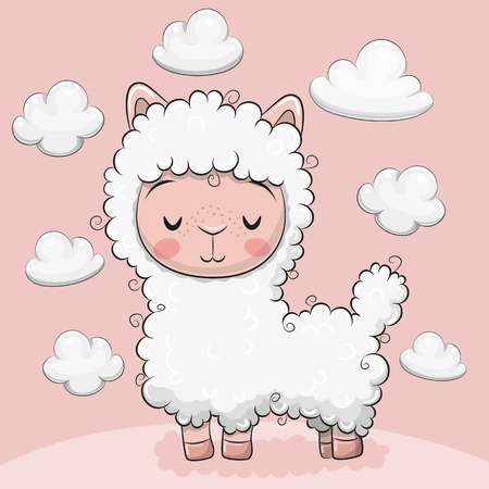 Cute Cartoon alpaca with clouds on a pink background