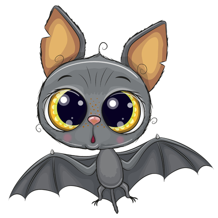 Cute Cartoon Bat Isolated on a White Background
