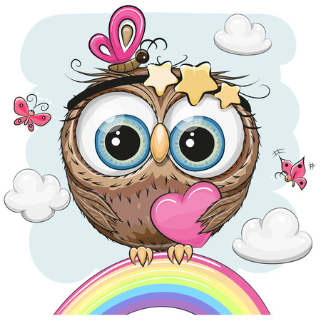 Cute Cartoon Owl with heart is sitting on a rainbow