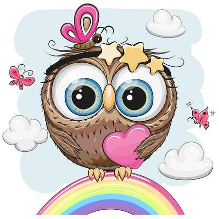 Hibou de dessin animé mignon avec coeur est assis sur un arc en ciel