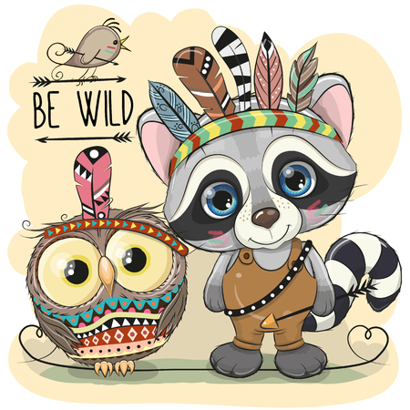 Cute Cartoon tribal Raccoon and owl with feathers