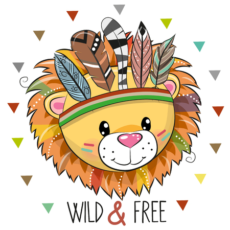 Cute Cartoon tribal Lion with feathers on a white background Illustration