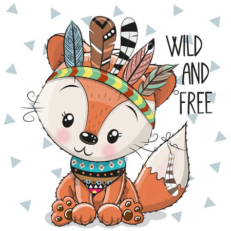 Cute Cartoon tribal Fox with feathers on a white background