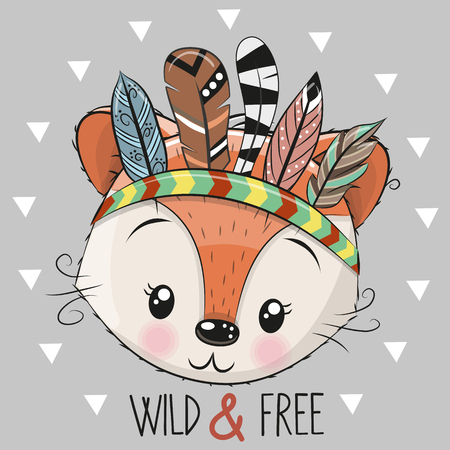 Cute Cartoon tribal Fox with feathers on a grey background