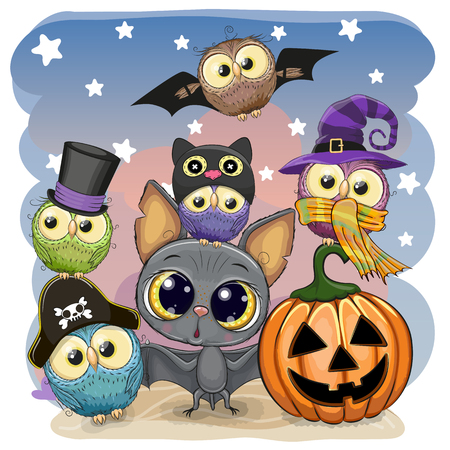 Greeting Halloween Card Cute Cartoon Bat with pumpkin and five owls