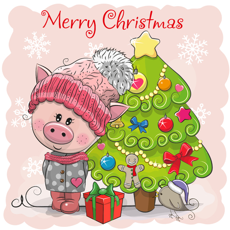 Greeting card Cute Cartoon Pig in a hat and scarf 向量圖像